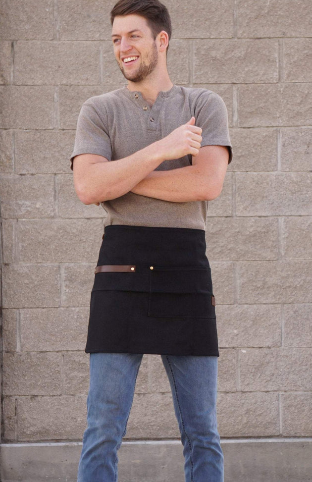 Utility Barista Waist / Half Apron - 14oz Waxed Canvas (Black)