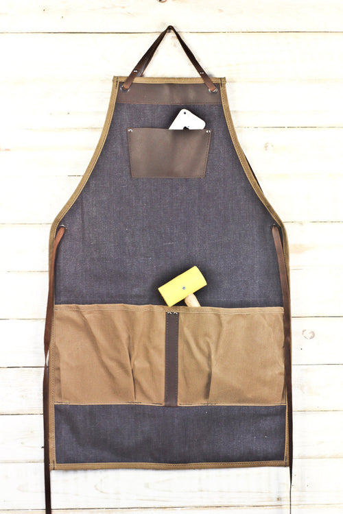 Denim + Leather Woodworking Apron