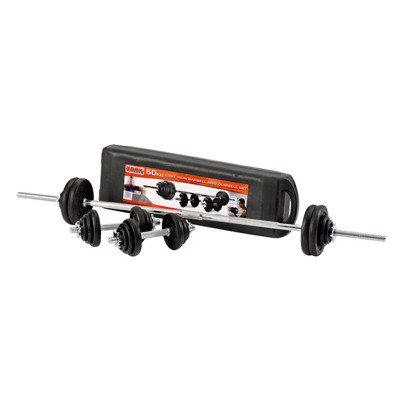 York Cast Iron Plate Barbell/Dumbell Set - 50kg