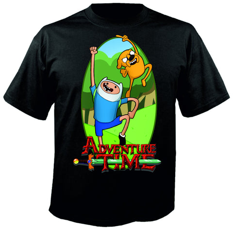 Adventure Time Logo Finn Jake Siyah Tişört