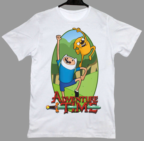 Adventure Time Logo Finn Jake Beyaz Tişört