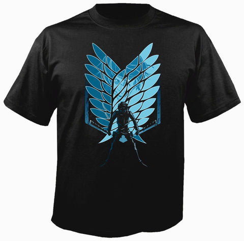 Attack On Titan Eren Wings Siyah Tişört