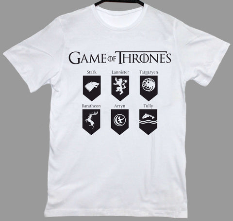 Game Of Thrones Houses Beyaz Tişört