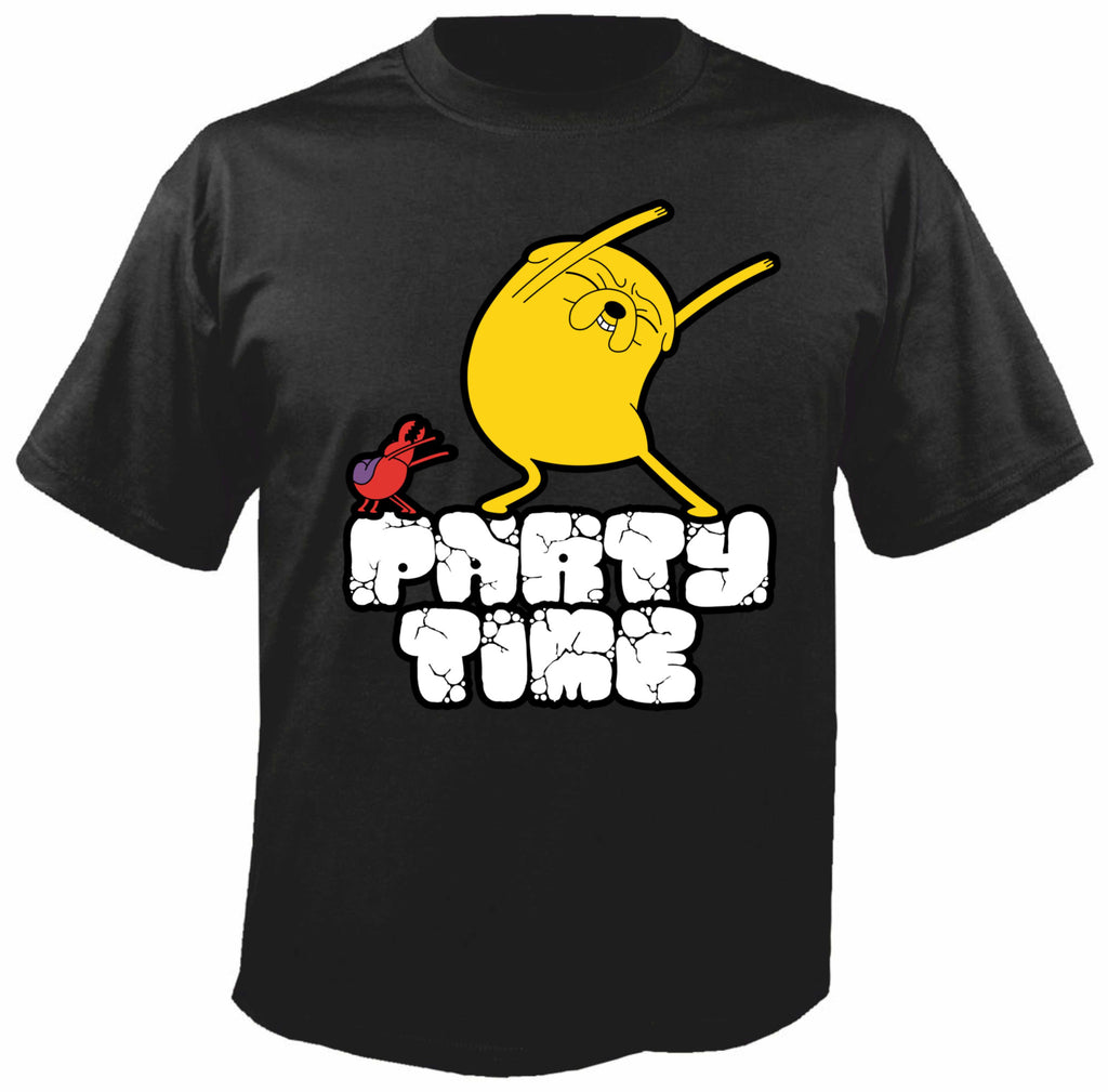 Adventure Time Jake Party Time Siyah Tişört