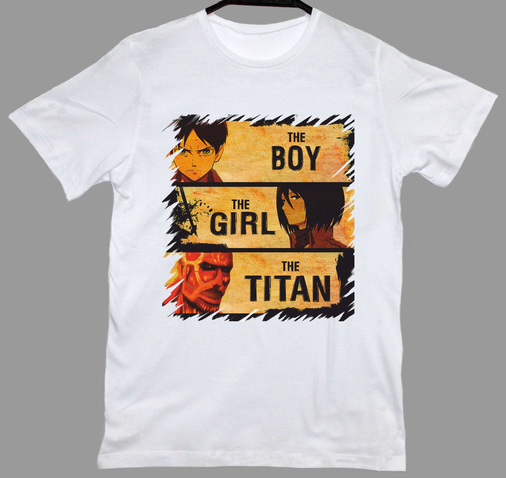 Attack On Titan Boy Girl Titan Beyaz Tişört