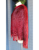 SCARLET RED BEAVER FUR PONCHO/SHAWL/CAPE, WAFFLE CUT - from THE REAL FUR DEAL & DAVID APPEL FURS new and pre-owned online fur store!