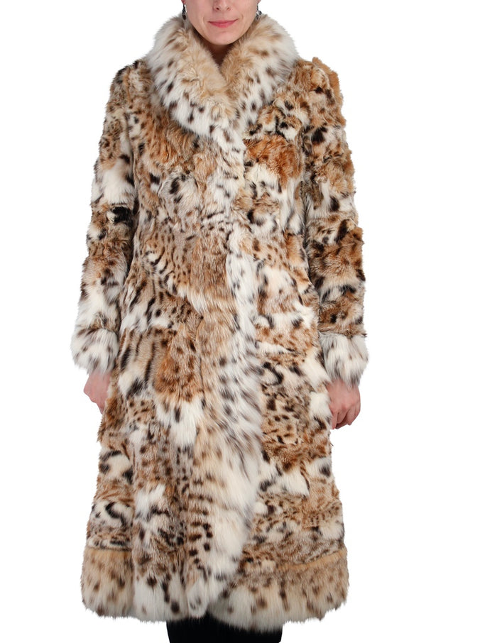 PRE-OWNED SMALL/MEDIUM <b>JOSEPH MAGNIN</b> PIECED AMERICAN LYNX FUR COAT - SILKY SOFT! AMAZING COLORING! - from THE REAL FUR DEAL & DAVID APPEL FURS new and pre-owned online fur store!