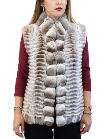 RARE BEIGE FEATHERED CHINCHILLA FUR VEST