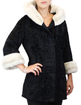 PRE-OWNED MEDIUM BULLOCK'S BLACK BROADTAIL JACKIE-O STYLE JACKET W/MINK TRIM! COAT - from THE REAL FUR DEAL & DAVID APPEL FURS new and pre-owned online fur store!
