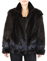 PRE-OWNED LARGE NATURAL DARK MINK FUR MOTORCYCLE STYLE JACKET! BLACK/BROWN - from THE REAL FUR DEAL & DAVID APPEL FURS new and pre-owned online fur store!