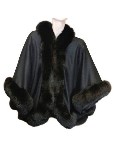 CASHMERE AND FOX FUR CAPE