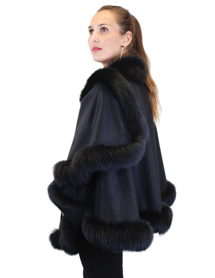 BLACK CASHMERE AND FOX FUR CAPE, PONCHO - from THE REAL FUR DEAL & DAVID APPEL FURS new and pre-owned online fur store!