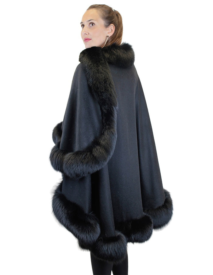 EXTRA LONG BLACK CASHMERE AND FOX FUR CAPE, PONCHO - from THE REAL FUR DEAL & DAVID APPEL FURS new and pre-owned online fur store!