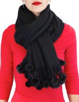 <b>BELLE FARE</b> - BLACK 100% CASHMERE & MINK FUR POM-POM SCARF/WRAP/SHAWL - from THE REAL FUR DEAL & DAVID APPEL FURS new and pre-owned online fur store!
