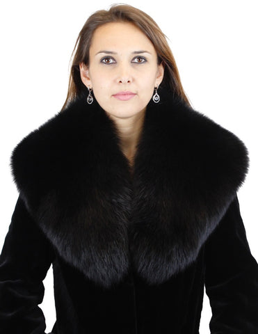 PRE-OWNED WIDE BLACK FOX FUR COLLAR - EXCELLENT CONDITION! THICK & LUSCIOUS!