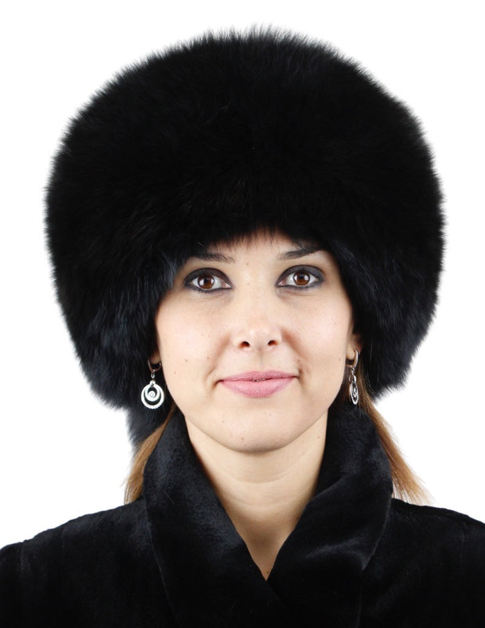 fcae65702f643 ... BLACK DYED FOX FUR   SHEARED RABBIT FUR HAT WITH TASSELS   RHINESTONES  - from THE ...