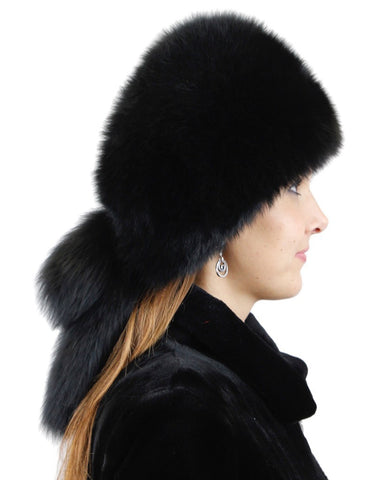 BLACK DYED FOX FUR & SHEARED RABBIT FUR HAT WITH TASSELS & RHINESTONES