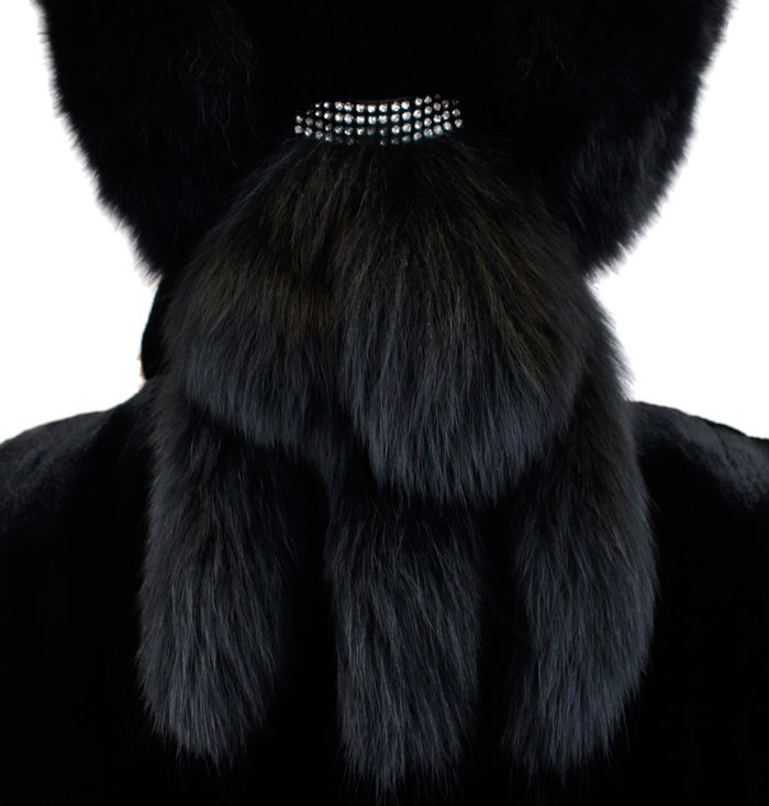 e5bec555a93cb ... BLACK DYED FOX FUR   SHEARED RABBIT FUR HAT WITH TASSELS   RHINESTONES  - from THE