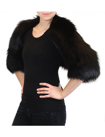 PRE-OWNED MEDIUM/LARGE BLACK DYED FOX FUR SHRUG! SO CUTE! SOFT, THICK FUR! - from THE REAL FUR DEAL & DAVID APPEL FURS new and pre-owned online fur store!