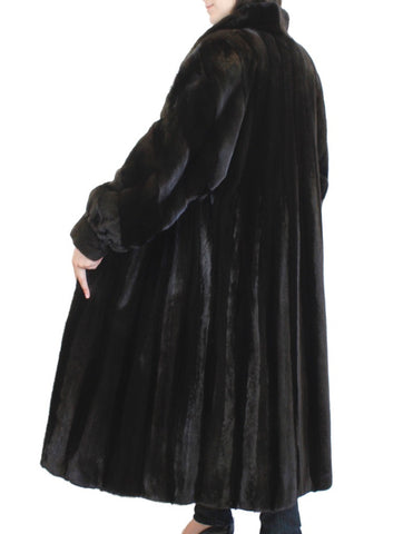 PRE-OWNED LARGE BLACK GLAMA LONG FEMALE MINK FUR COAT w/BACKGAMMON DESIGN!