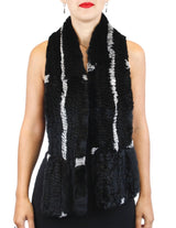 KNITTED REX RABBIT FUR SCARF - from THE REAL FUR DEAL & DAVID APPEL FURS new and pre-owned online fur store!