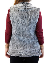 BLACK/GRAY SNOWTOP KNITTED REX RABBIT FUR VEST - from THE REAL FUR DEAL & DAVID APPEL FURS new and pre-owned online fur store!