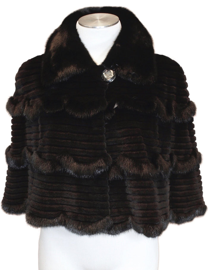MEDIUM BLACK GROOVED SHEARED & UNSHEARED MINK FUR CAPELET, CAPE - from THE REAL FUR DEAL & DAVID APPEL FURS new and pre-owned online fur store!