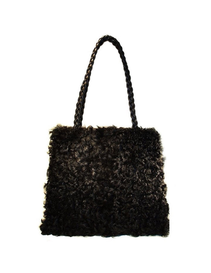BLACK KALGAN LAMB FUR SHOPPER BAG, PURSE - from THE REAL FUR DEAL & DAVID APPEL FURS new and pre-owned online fur store!