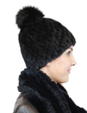 KNITTED MINK FUR & FOX FUR POM-POM BEANIE, HAT