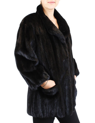 PRE-OWNED L/XL BEAUTIFUL DARK MINK FUR JACKET! BLACK COAT