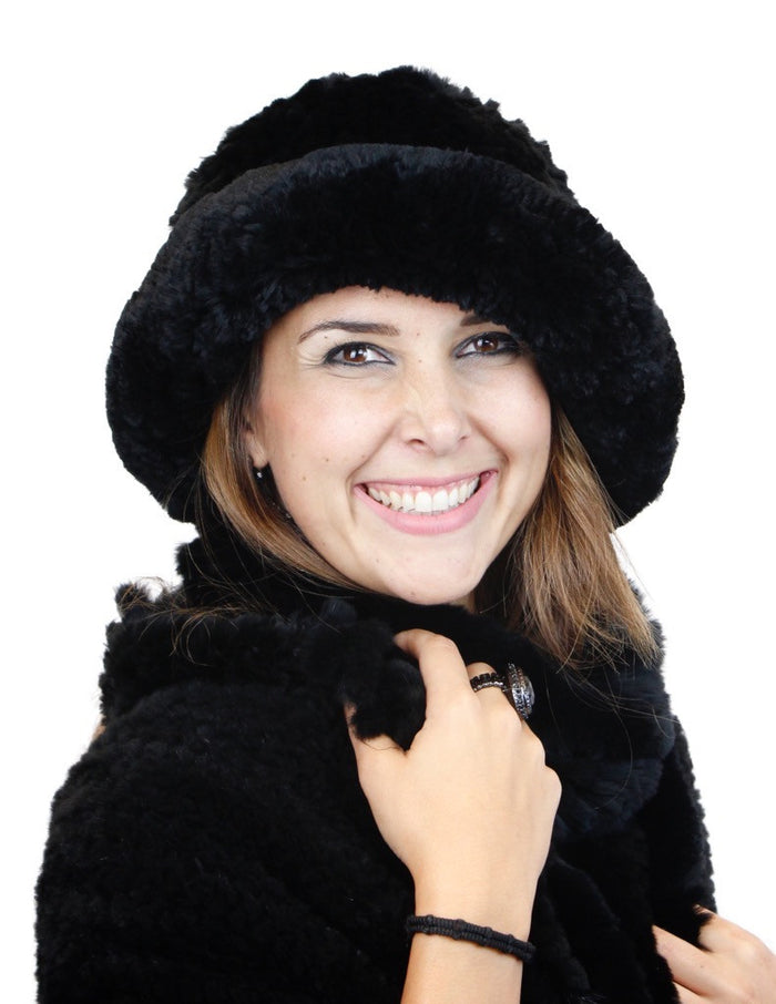 KNITTED REX RABBIT FUR HAT W/ ADJUSTABLE BRIM - from THE REAL FUR DEAL & DAVID APPEL FURS new and pre-owned online fur store!