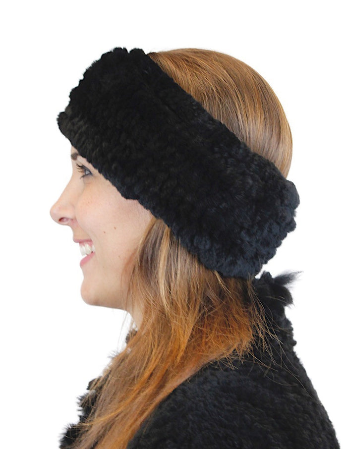 KNITTED REX RABBIT FUR HEADBAND - from THE REAL FUR DEAL & DAVID APPEL FURS new and pre-owned online fur store!