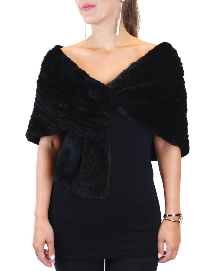 KNITTED REX RABBIT FUR STOLE - from THE REAL FUR DEAL & DAVID APPEL FURS new and pre-owned online fur store!