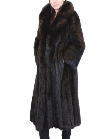PRE-OWNED XL LONG BLACK-DYED SABLE FUR COAT WITH LARGE COLLAR & TURN UP CUFFS!