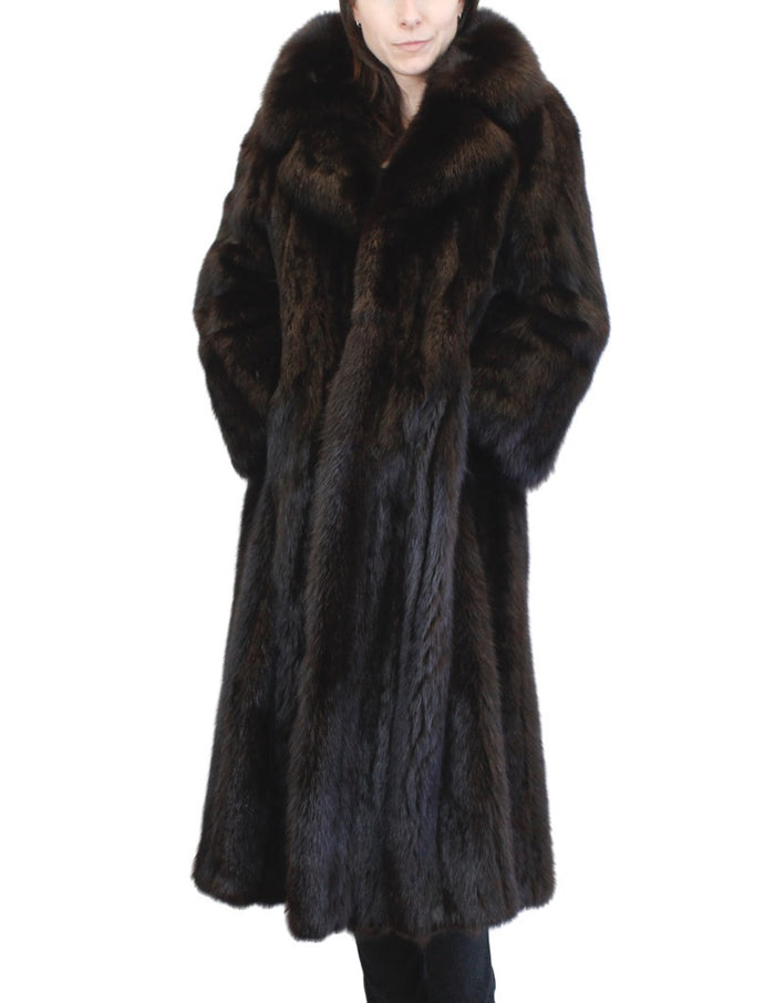 PRE-OWNED XL LONG BLACK-DYED SABLE FUR COAT WITH LARGE COLLAR & TURN UP CUFFS! - from THE REAL FUR DEAL & DAVID APPEL FURS new and pre-owned online fur store!