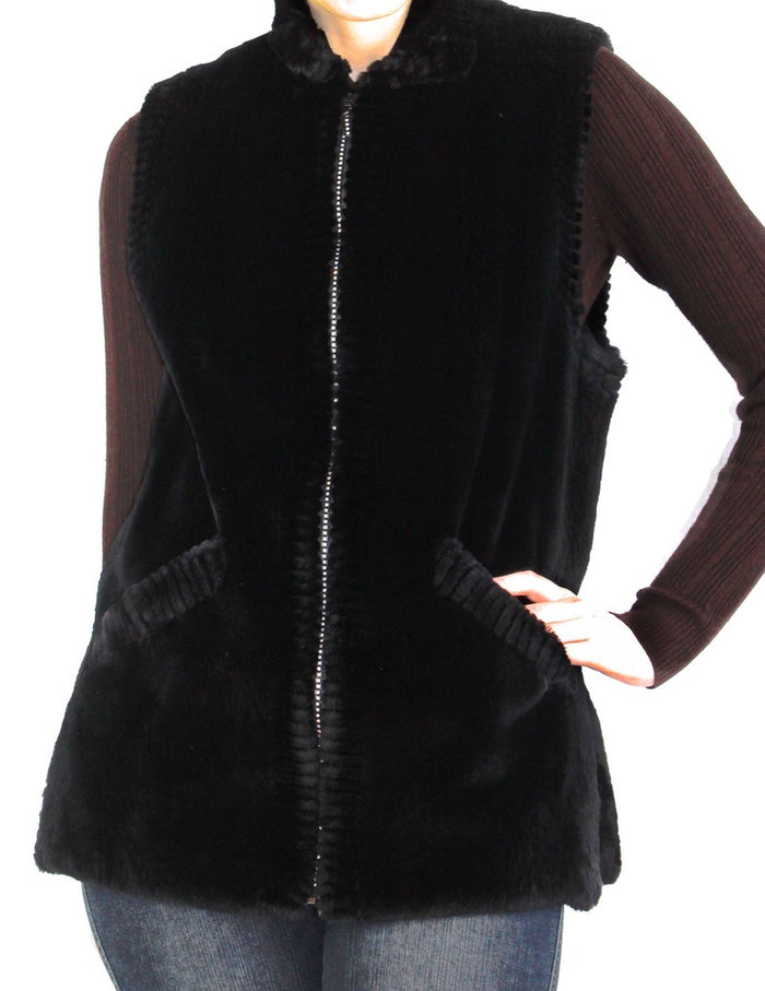 MEDIUM BLACK SHEARED BEAVER FUR VEST WITH SPARKLING CRYSTAL ZIPPER - from THE REAL FUR DEAL & DAVID APPEL FURS new and pre-owned online fur store!