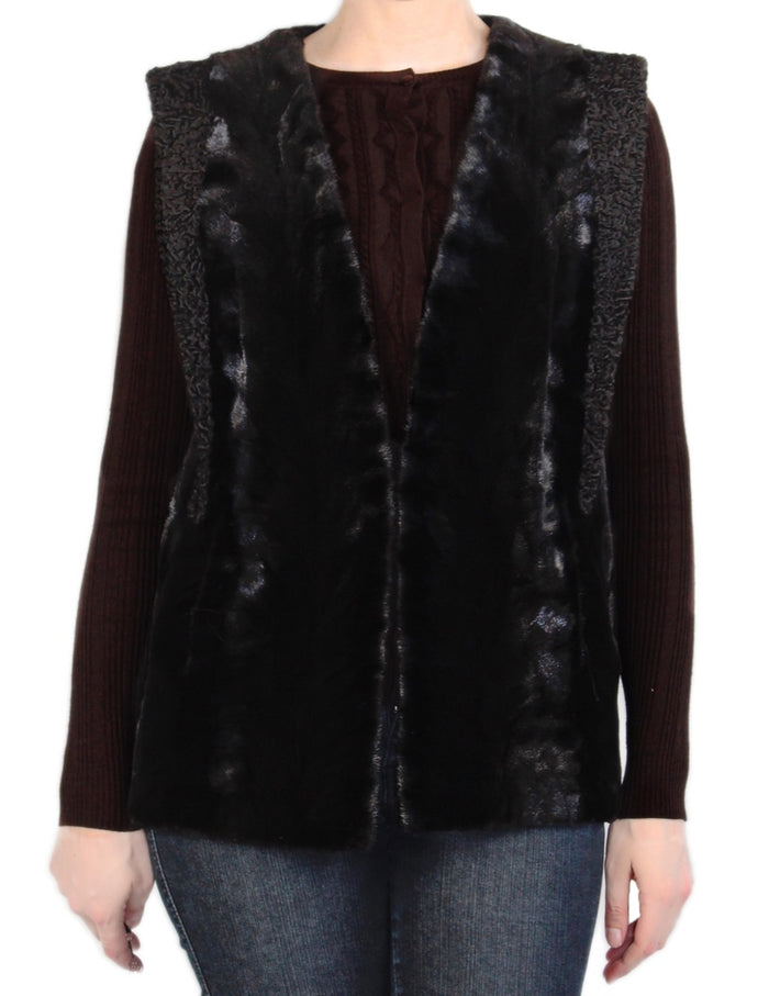 MEDIUM BLACK SHEARED MINK FUR & PERSIAN LAMB VEST - from THE REAL FUR DEAL & DAVID APPEL FURS new and pre-owned online fur store!