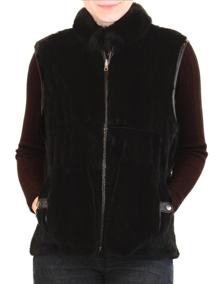LARGE <B>REVERSIBLE</B> BLACK REX RABBIT FUR & LEATHER VEST - from THE REAL FUR DEAL & DAVID APPEL FURS new and pre-owned online fur store!