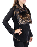 BLACK STENCILED LEOPARD LONG HAIRED SHEARLING MOTO VEST - from THE REAL FUR DEAL & DAVID APPEL FURS new and pre-owned online fur store!