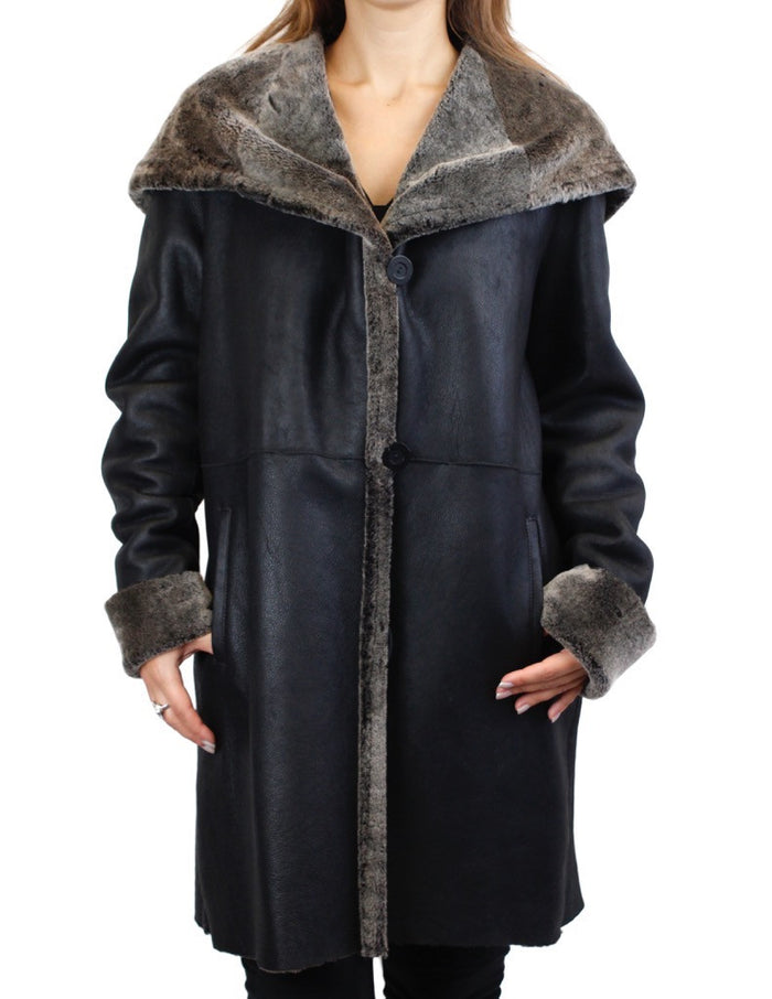 <b>BLUE DUCK</b> - BLACK SPANISH MERINO SHEARLING LAMB FUR JACKET WITH LARGE COLLAR/HOOD! - from THE REAL FUR DEAL & DAVID APPEL FURS new and pre-owned online fur store!