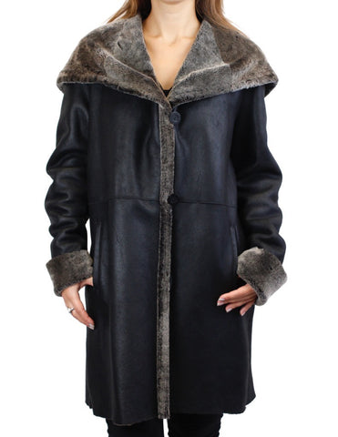 BLUE DUCK BLACK SPANISH MERINO SHEARLING LAMB FUR JACKET WITH LARGE COLLAR/HOOD!