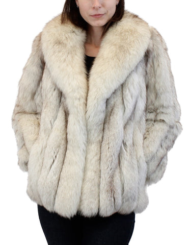 PRE-OWNED SMALL/MEDIUM BLUE FOX FUR JACKET! THICK, COZY FUR & LARGE COLLAR!