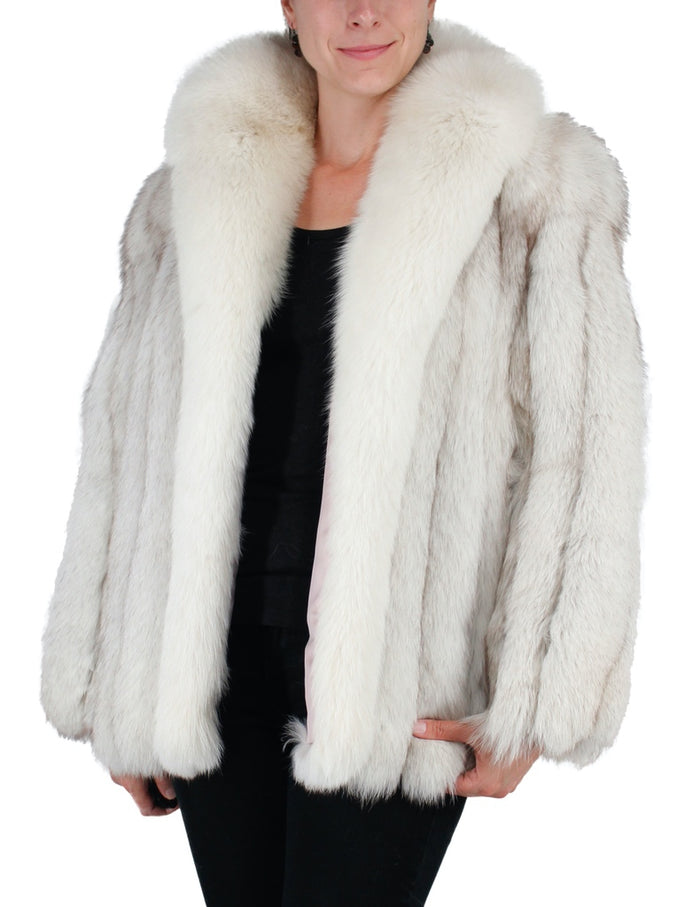 PRE-OWNED LARGE/XL BLUE FOX FUR JACKET WITH SHADOW FOX FUR COLLAR & TRIM - from THE REAL FUR DEAL & DAVID APPEL FURS new and pre-owned online fur store!