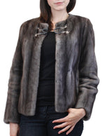 PRE-OWNED DESIGNER PETER SOM - BLUE IRIS MINK FUR JACKET! SIZE 6, SMALL, GRAY - from THE REAL FUR DEAL & DAVID APPEL FURS new and pre-owned online fur store!