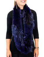 <b>GORSKI</b> - KNITTED BLUE DYED CHINCHILLA & SILVER FOX FUR INFINITY SCARF - from THE REAL FUR DEAL & DAVID APPEL FURS new and pre-owned online fur store!