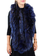 <b>GORSKI</b> - KNITTED BLUE DYED SILVER FOX FUR INFINITY RUFFLE SCARF - from THE REAL FUR DEAL & DAVID APPEL FURS new and pre-owned online fur store!