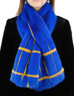 BLUE & YELLOW MINK FUR CROSSOVER SCARF, BOA - from THE REAL FUR DEAL & DAVID APPEL FURS new and pre-owned online fur store!