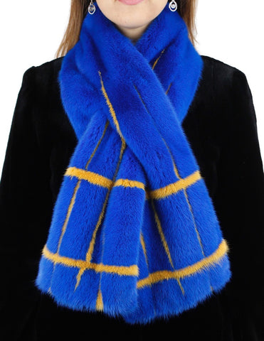 BLUE & YELLOW MINK FUR CROSSOVER SCARF, BOA
