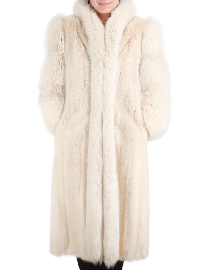 PRE-OWNED MEDIUM/LARGE LONG BLUSH MINK & FOX FUR COAT - from THE REAL FUR DEAL & DAVID APPEL FURS new and pre-owned online fur store!
