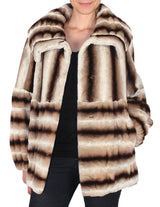 LARGE BEIGE BROWN STRIPED REX RABBIT FUR COAT, JACKET - from THE REAL FUR DEAL & DAVID APPEL FURS new and pre-owned online fur store!
